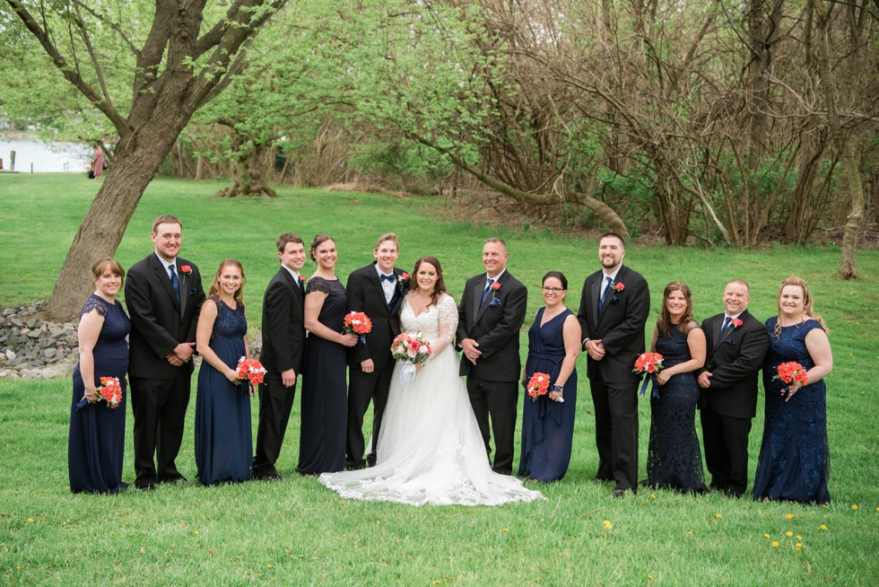 Spring wedding party in navy
