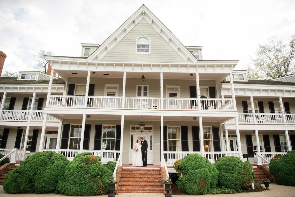 Historic Kent Manor Inn Spring wedding couple