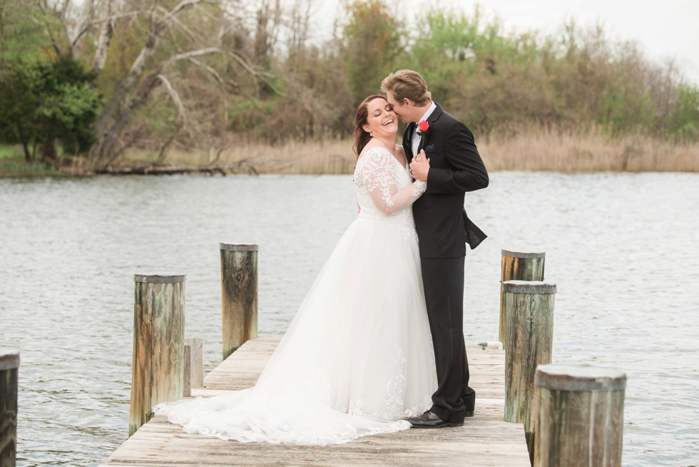 north shore wedding photos bride and groom on a dock