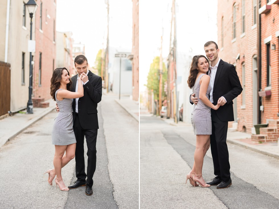 charming city street engagement photos