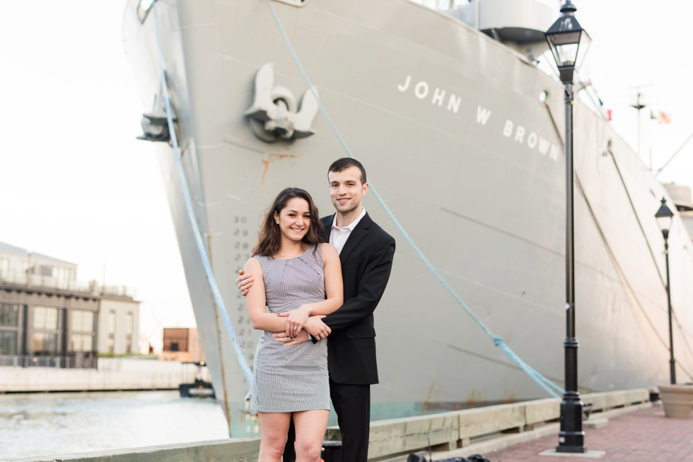 John W Brown Ship Fells Point engagement photos at Sagamore Pendry