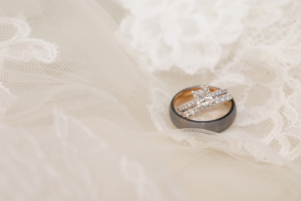 engagement ring on lace