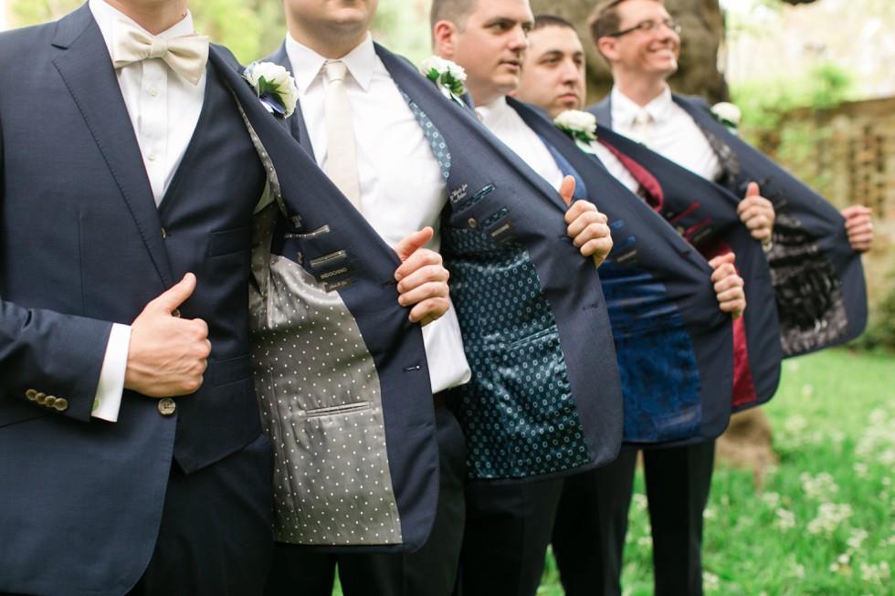 Indochino custom tux Tidewater Inn groom getting ready