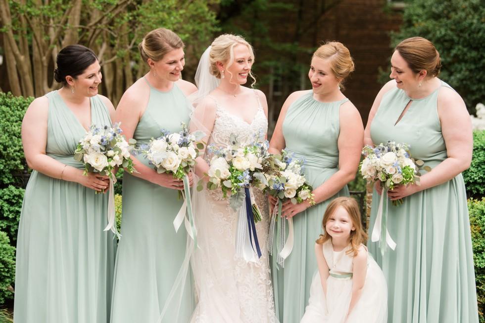 sage bridesmaid Dessy dress