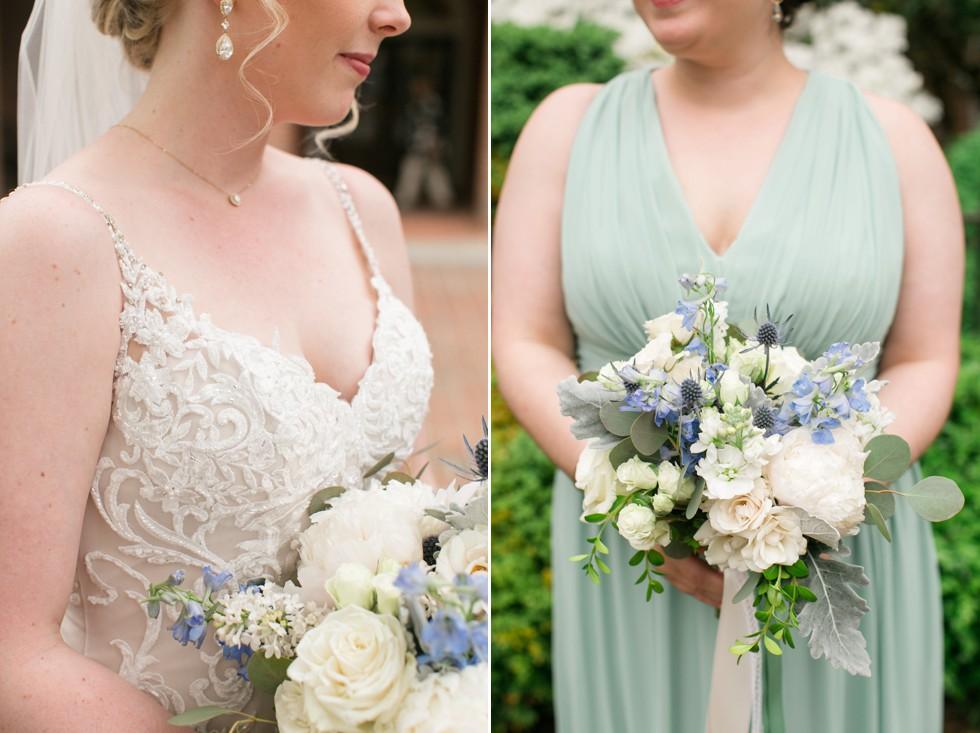 Seaberry flowers sage bridesmaid Dessy dress