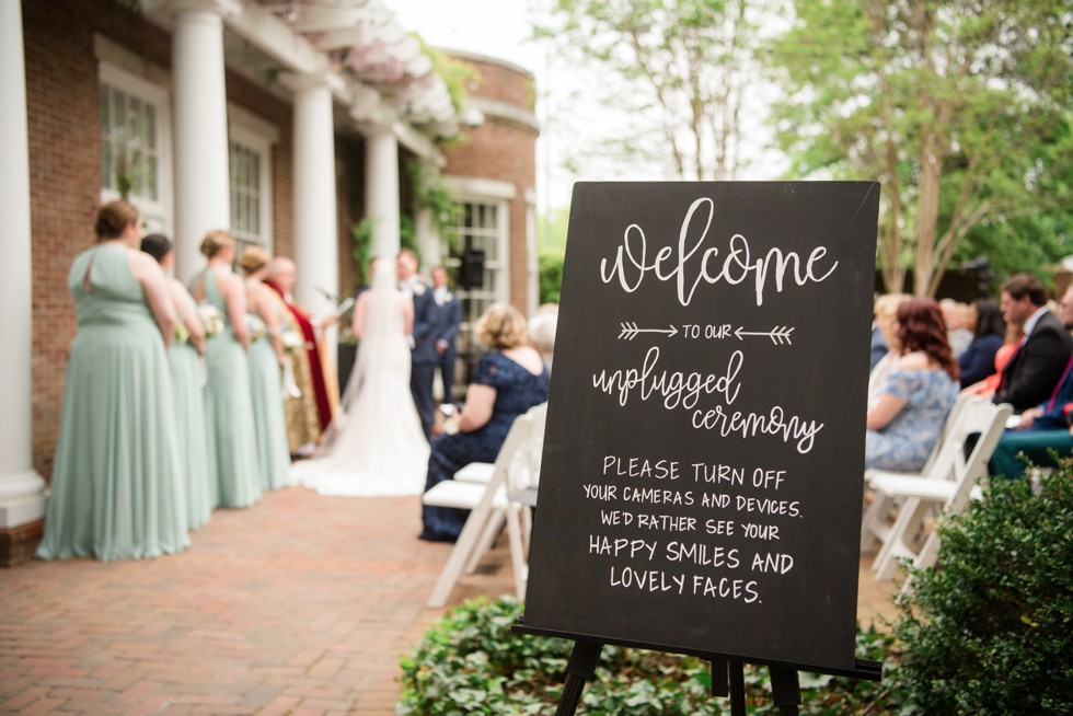Unplugged ceremony calligraphy sign