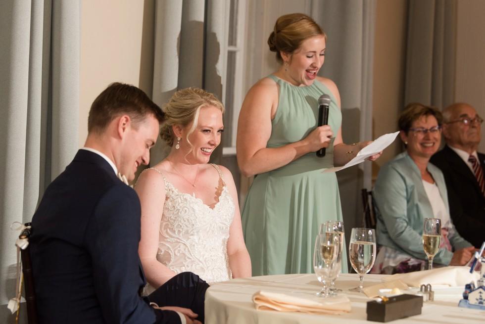 The Tidewater Inn Crystal Room wedding toast