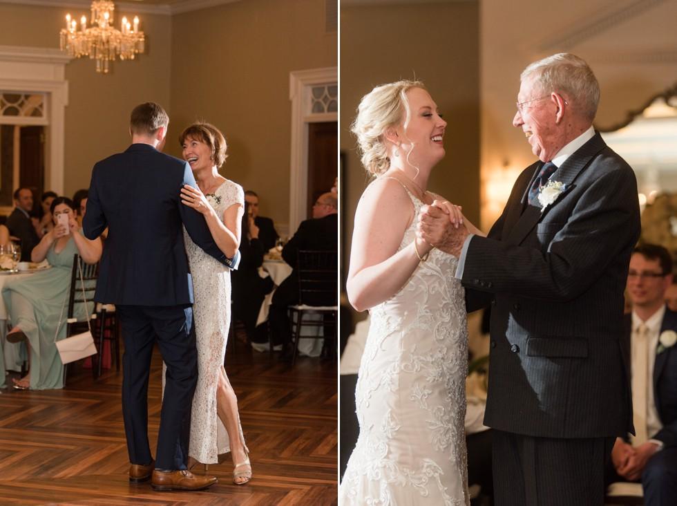 The Tidewater Inn Crystal Room wedding parent dances