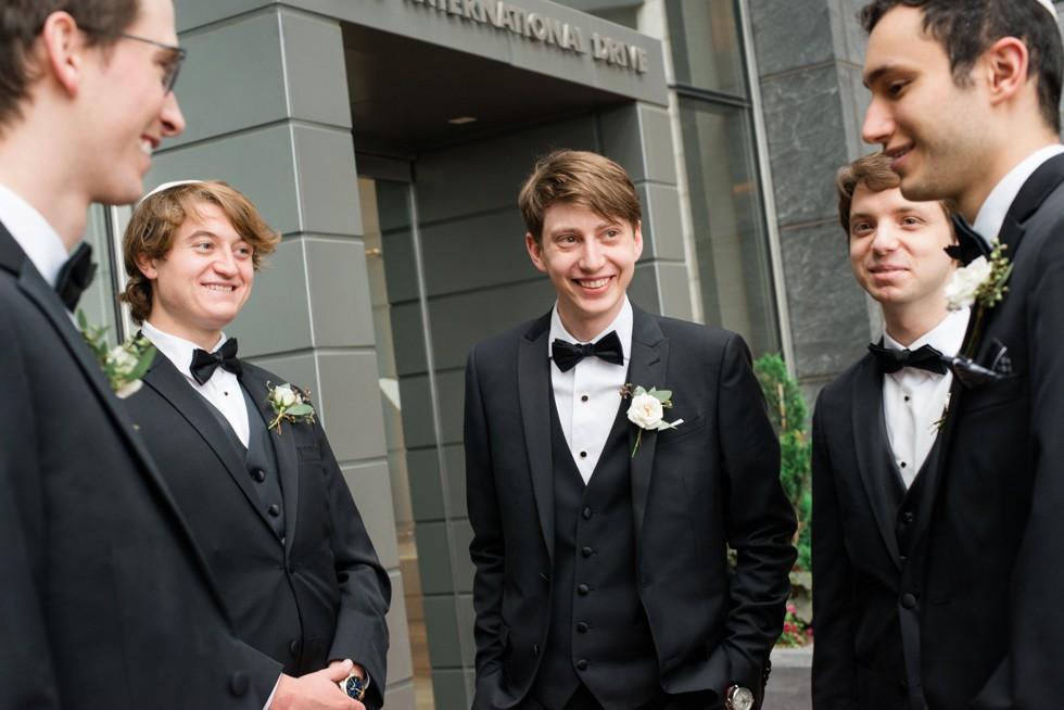 Four Seasons Hotel Baltimore groomsmen couple portraits