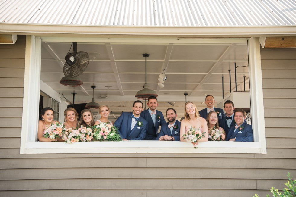blush pink beach house wedding party