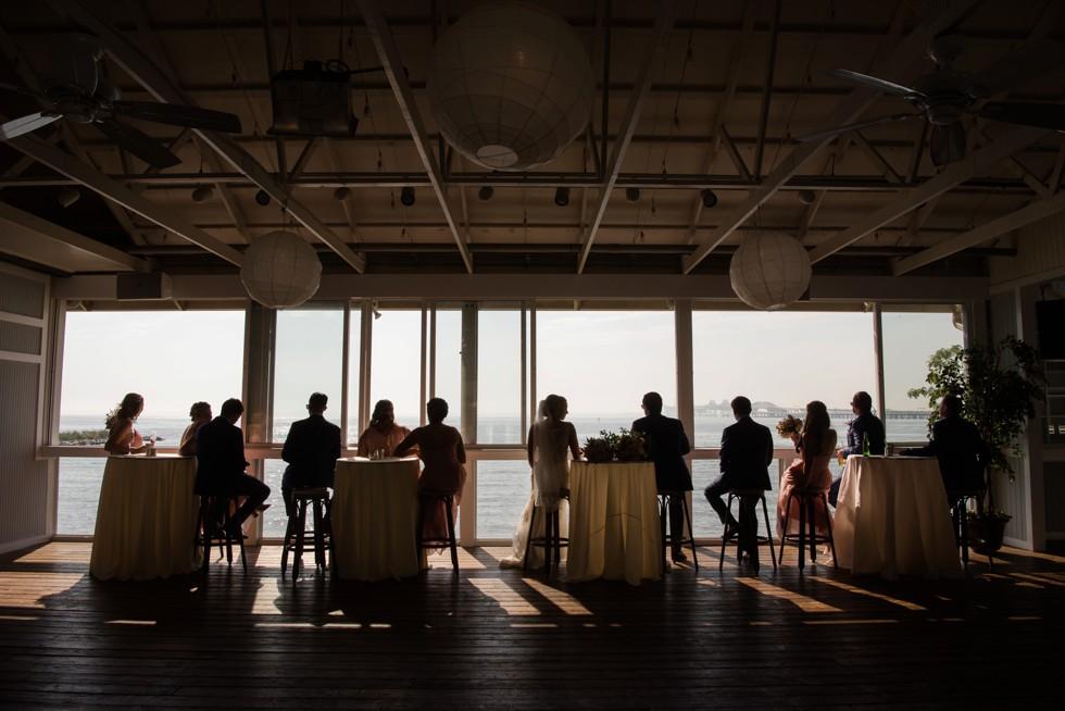 silhouette of the Chesapeake Bay Bridge wedding party