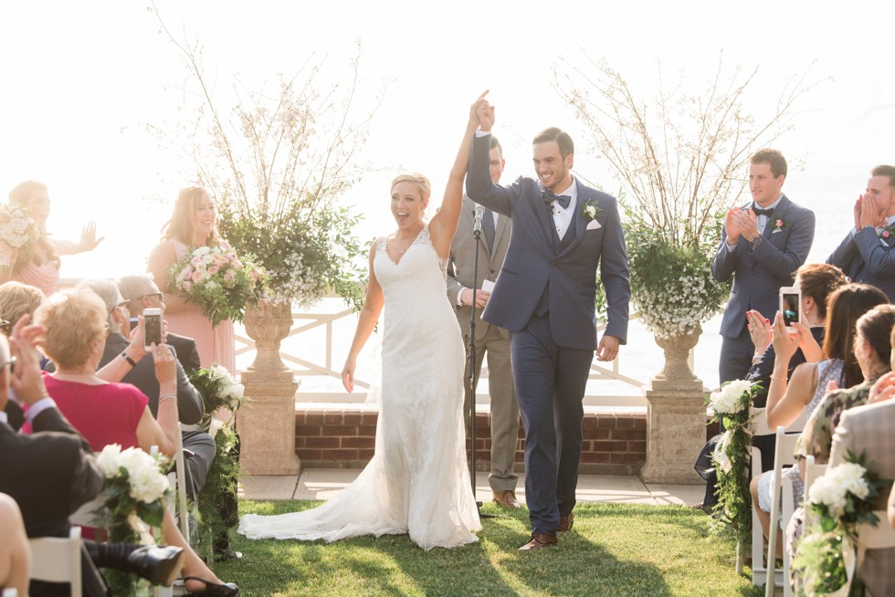 Chesapeake Bay beach wedding ceremony