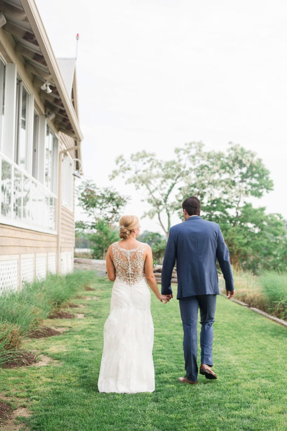 Chesapeake Bay beach bride and groom