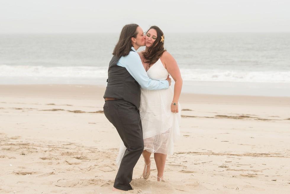brides wedding photographs on the beach