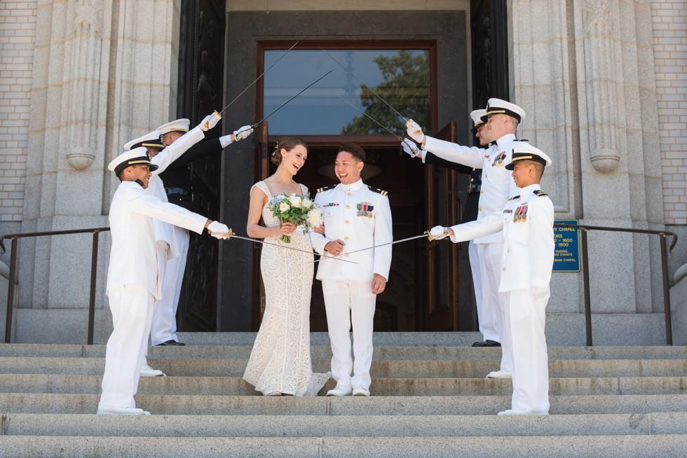 USNA Main Chapel Wedding Ceremony Sword arch
