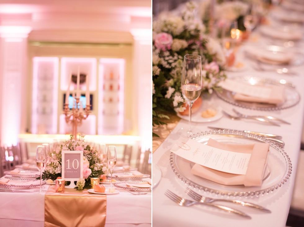 Ballroom at Ellis Preserve pink Wedding Reception
