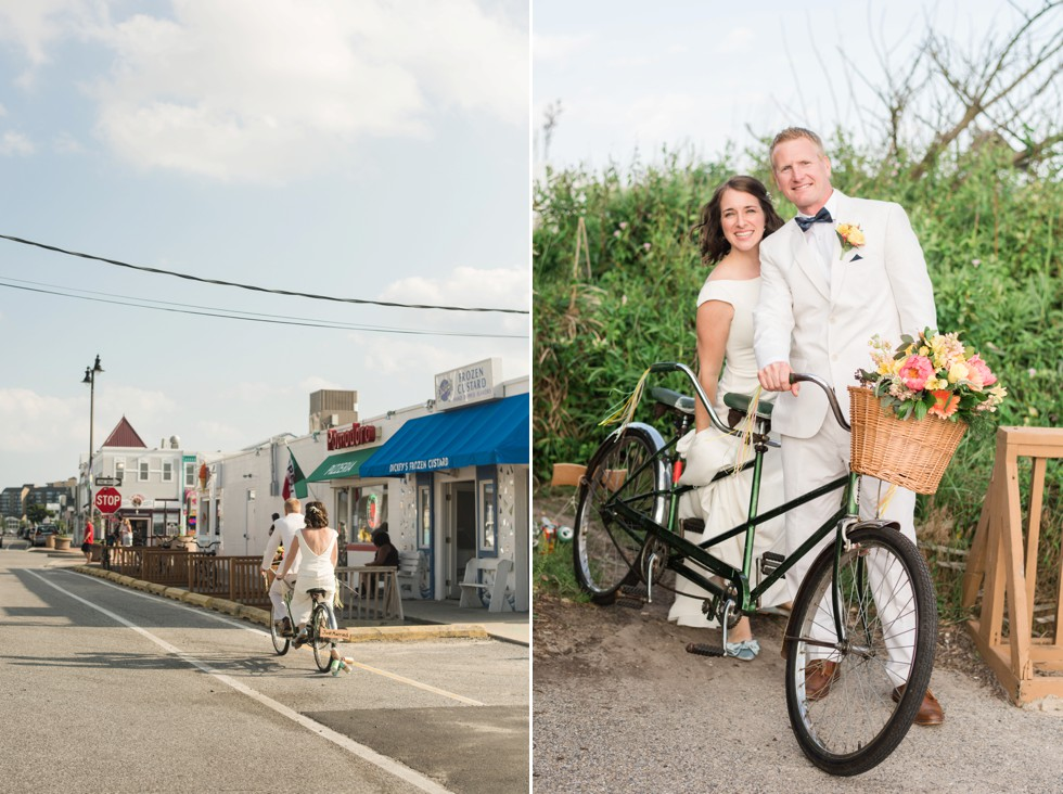 Bethany Beach bicycle built for two wedding