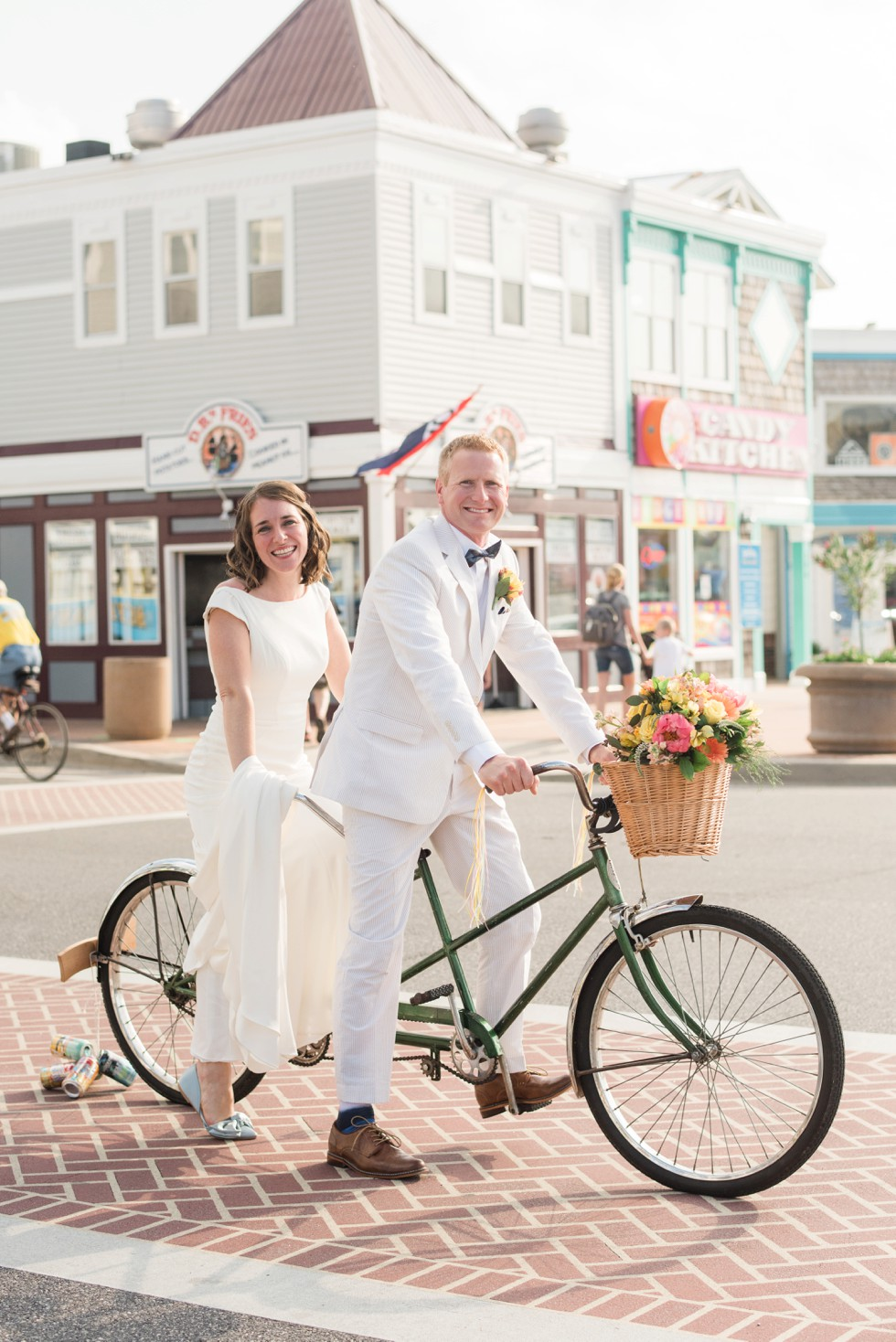 Beach bicycle built for two wedding
