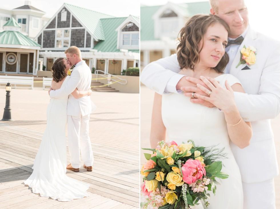 wedding photos on Bethany Beach boardwalk