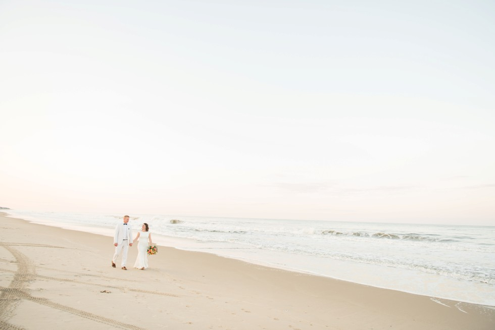 Addy Sea Delaware Beach sunset bride and groom