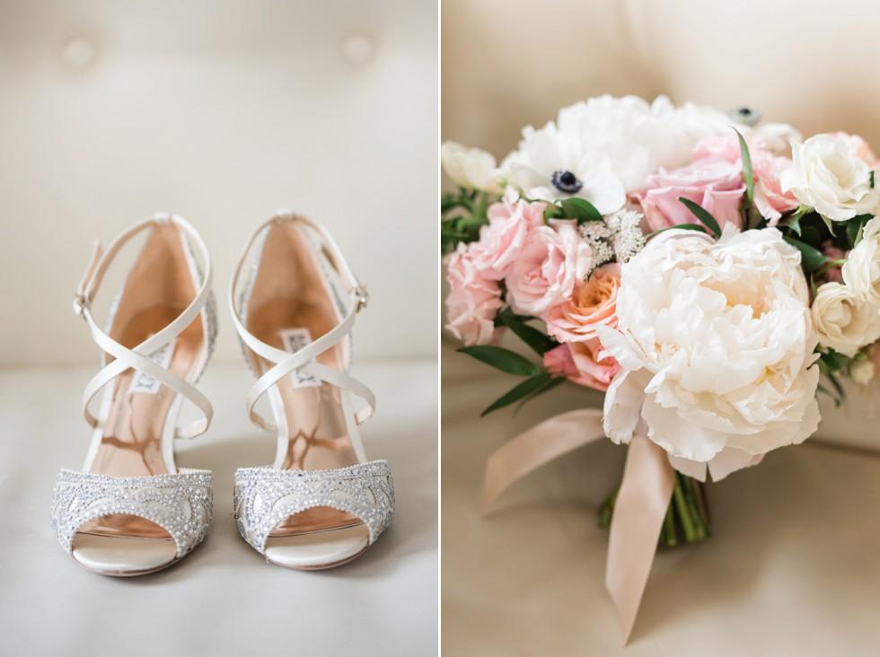 Hotel Monaco wedding brides Badgely Mischka shoes