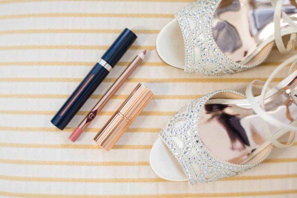 Hotel Monaco wedding brides shoes and makeup