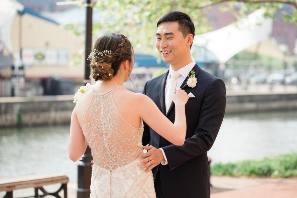 Four Seasons Baltimore first look wedding photos