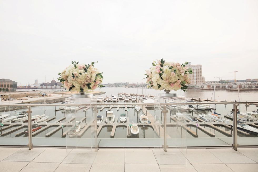 Blue Vanda Floral Designs baltimore harbor outdoor wedding