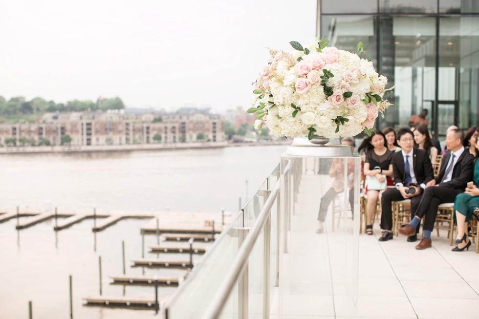 Blue Vanda Floral Designs Baltimore harbor wedding ceremony