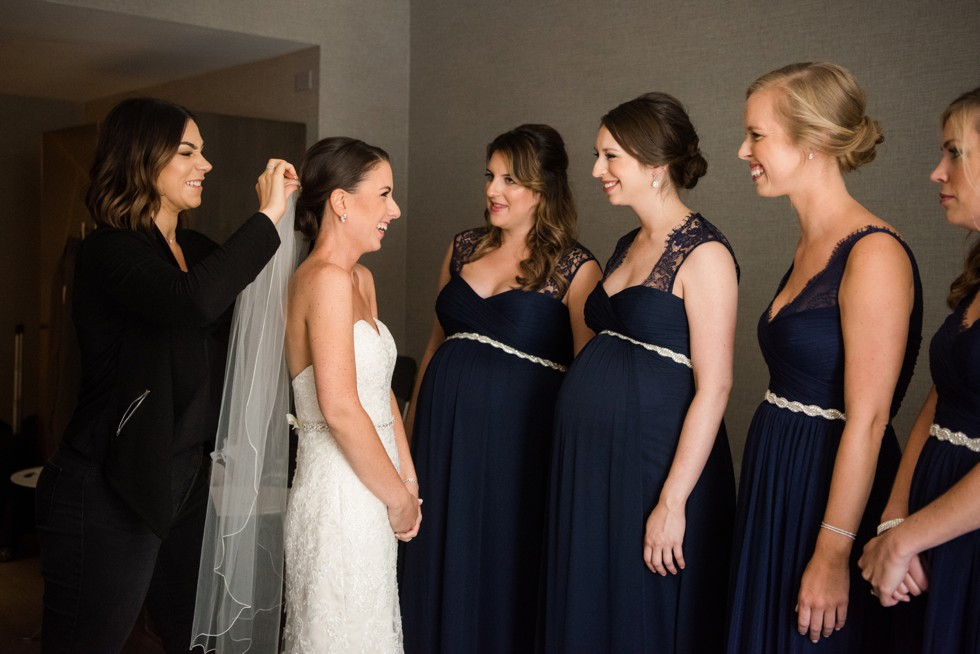 bridesmaids getting ready at Le Meridien