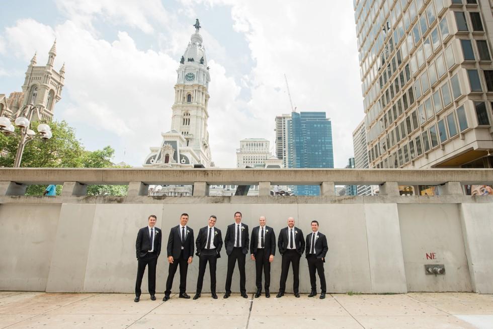 Le Meridien Philadelphia groomsmen at city hall