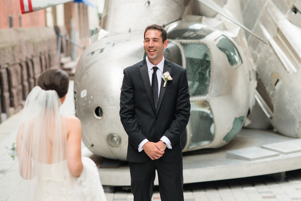bride and groom first look at PAFA