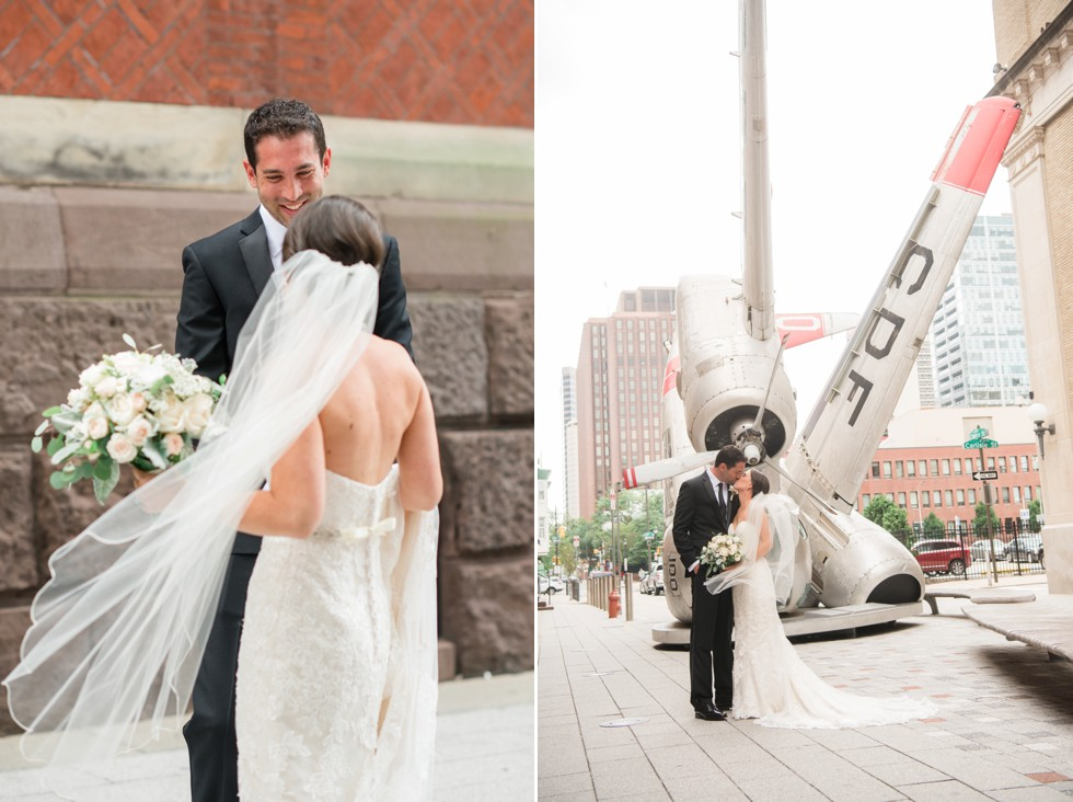 bride and groom first look at PAFA in front of plane