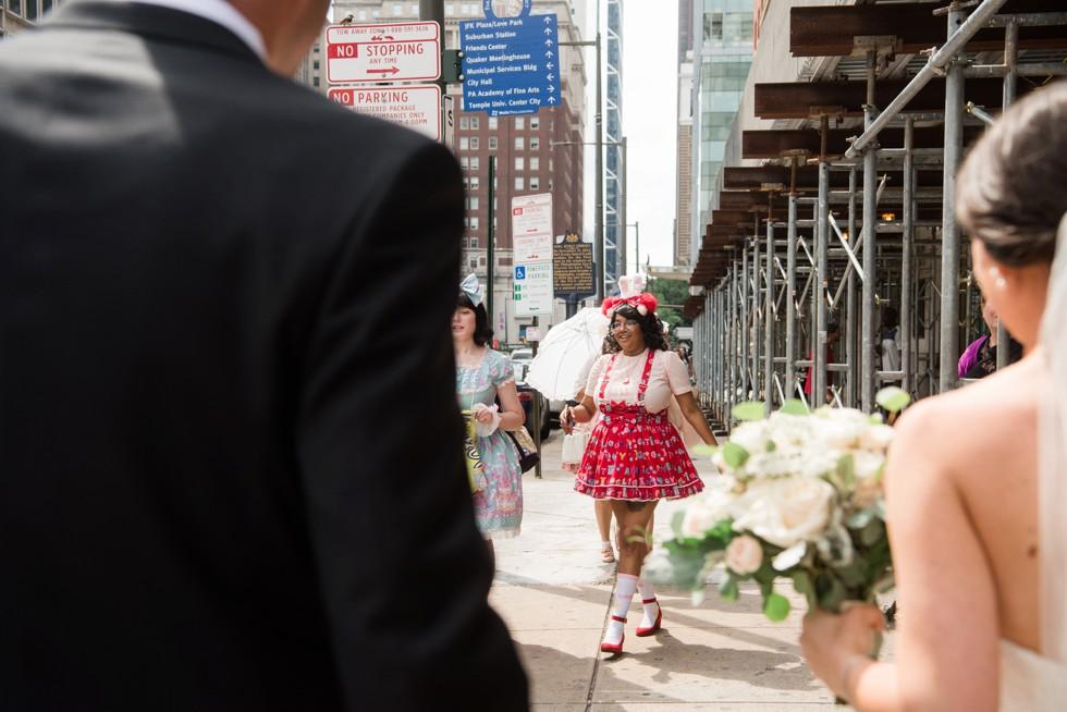 city hall philadelphia bride and groom candid