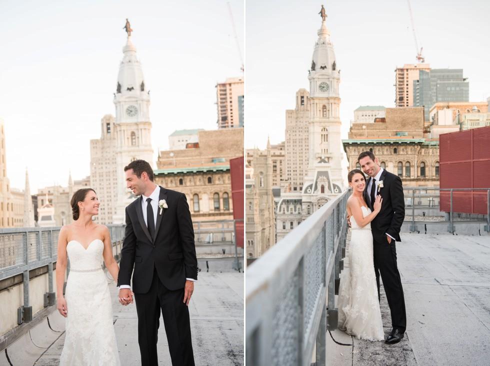 PAFA rooftop Philadelphia skyline wedding photos
