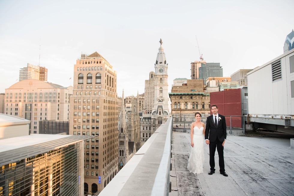 PAFA rooftop Philadelphia skyline bride and groom