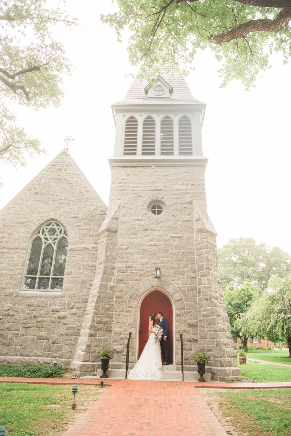 Trinity Cathedral bride and groom portrait