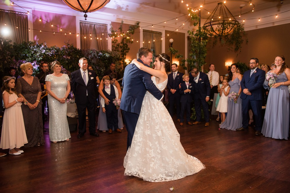Bride and groom first dance in Gold Ballroom Tidewater Inn