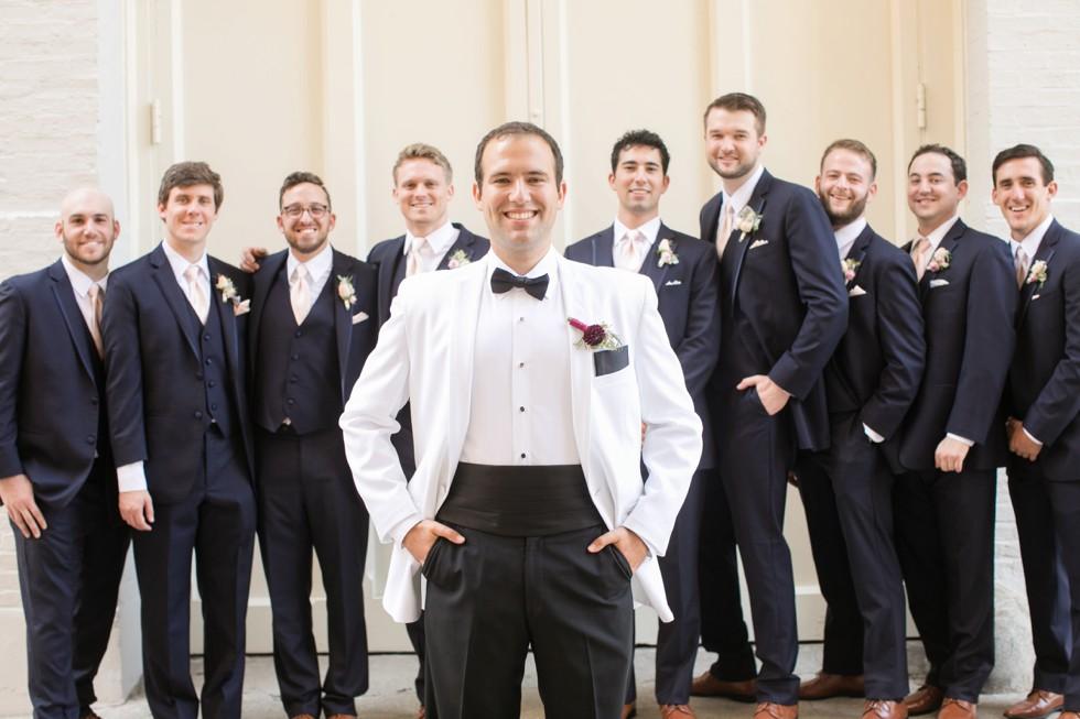 Groomsmen photos in Mount Vernon Peabody Library wedding