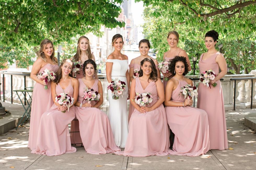 Bridesmaids Mount Vernon Peabody Library wedding