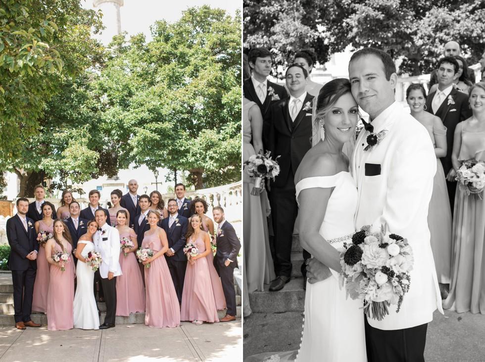 Wedding party Mount Vernon Peabody Library wedding