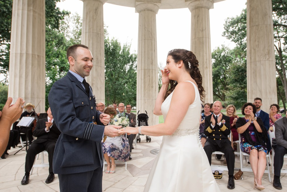 DC War Memorial wedding ceremony in the rain