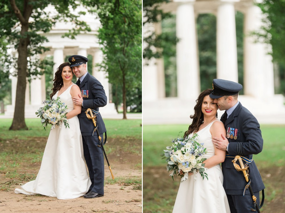 DC War Memorial wedding photo in the rain