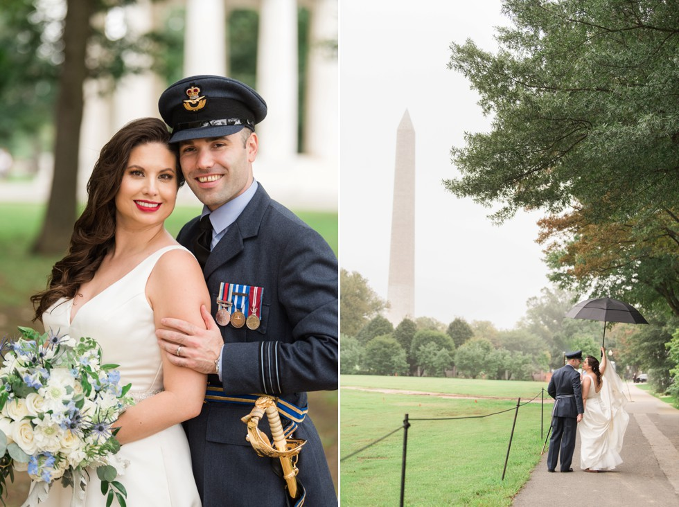 Washington monument DC wedding photo in the rain