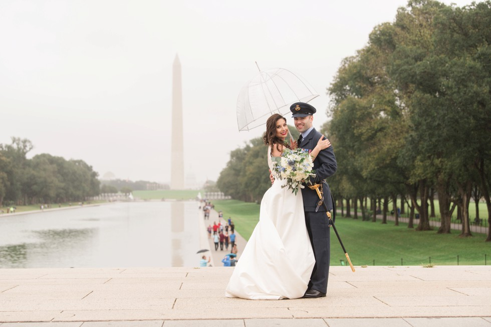 Reflecting pool DC wedding couple - royal navy