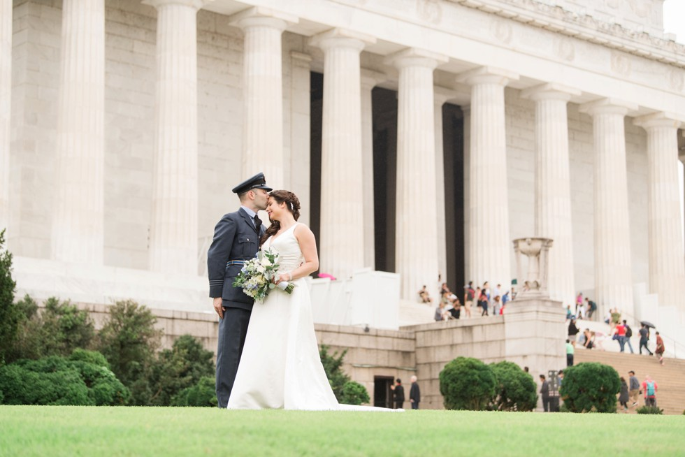 Lincoln memorial wedding couple - royal navy