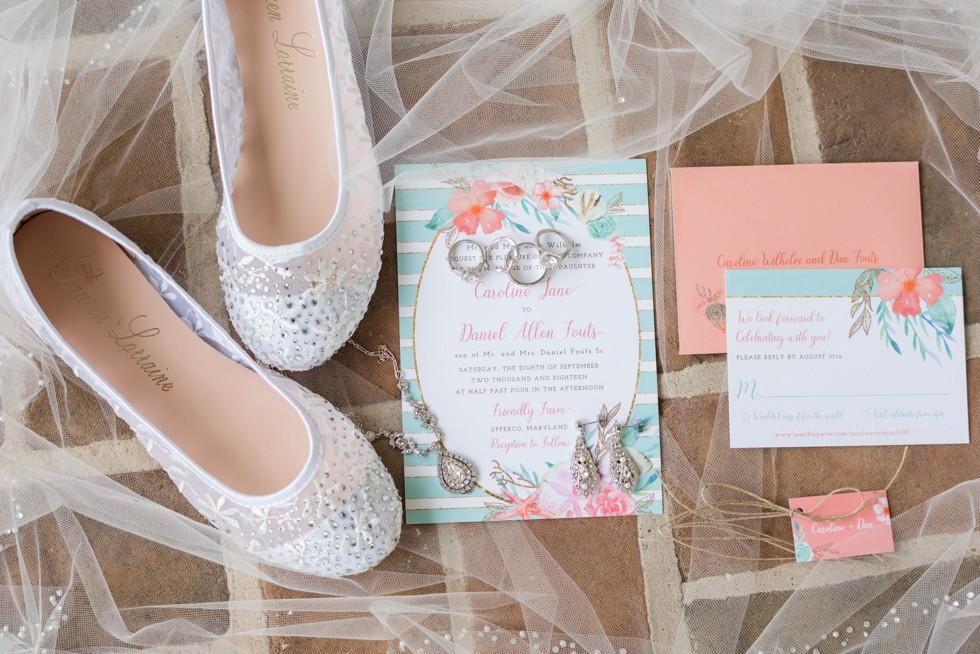MLC Designs farm wedding mint and coral invitation