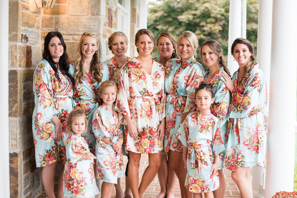 matching floral bride and bridesmaid robes