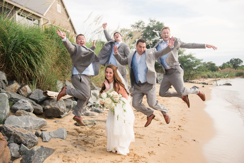 groomsmen jumping Chesapeake Bay Wedding on the Eastern Shore