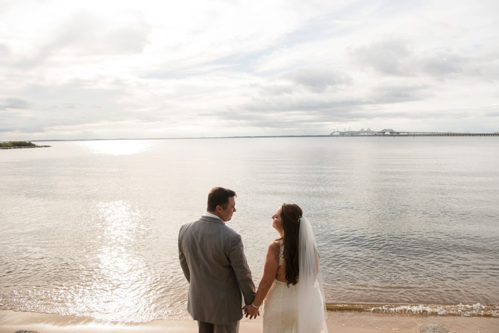 bride and groom on the eastern shore beach at sunset